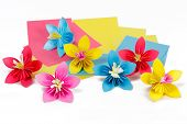 Paper Colored Flowers On The Paper