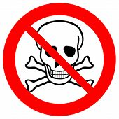 foto of chemical weapon  - No chemical weapons sign on white background - JPG