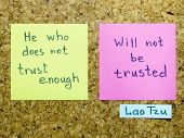 pic of interpreter  - famous Lao Tzu quote interpretation with sticker notes on cork board - JPG