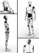 stock photo of robotics  - Collage with a male robot - JPG