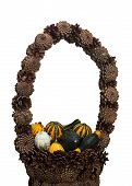 Ornamental Gourds In Decorative Basket Of Pine Cones