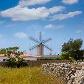 Menorca Sant Lluis San Luis Moli de Dalt windmill in Balearic islands of Spain