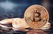 stock photo of bit coin  - Photo Golden Bitcoins  - JPG