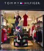 HURGHADA, EGYPT - MARCH 16, 2014: Tommy Hilfiger Store. Tommy Hilfiger Corporation is an American cl