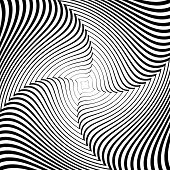 Design Monochrome Whirlpool Movement Illusion Background. Abstract Strip Lines Torsion Backdrop