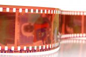 Close-up image of 35mm film strip isolated on white background