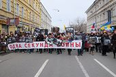 MOSCOW - MARCH 15: Protest manifestation of muscovites against war in Ukraine and Russia's support o