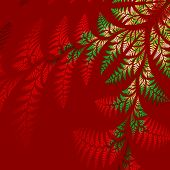 Asymmetrical Pattern Of The Leaves In Red And Green.  Computer Generated Graphics.