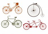 stock photo of tandem bicycle  - Silhouette of retro bicycle on a white background - JPG