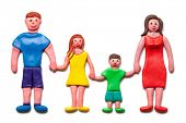 My happy family isolated on the white background.(Plasticine. Clipping path included.)