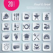 collection of 20 professional icons on food and drink themed topics