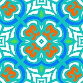 stock photo of indian blue  - Vector multicolor ethnic pattern with Indian - JPG