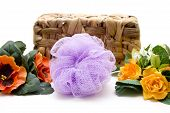 Net sponge with flowers and basket