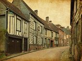 Gerberoy. Old street in medieval village. Gerberoy is a commune in the Oise department in northern F