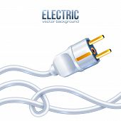 White electric plug and cables