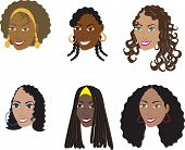 stock photo of black curly hair  - Vector Illustration set of 6 natural and real hair styles for women with curly kinky or wavy hair - JPG