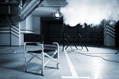 Chair for director in studio on a background of a smoke