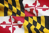 stock photo of maryland  - State of Maryland flag blowing in the wind - JPG