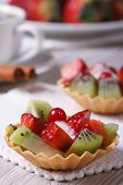 Fruit Tartlets With Strawberries And Kiwi Vertical