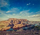 Mehrangarh Fort and Padamsar Talab and Ranisar Talab lakes , Jodhpur, Rajasthan, India with grunge t