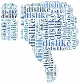 stock photo of dislike  - Word cloud social media related in shape of thumb down dislike symbol - JPG