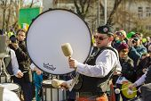 Irish Drum Band During St. Patrick's Day Parade