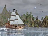Pirate ship by night - 3D render