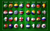 stock photo of arena  - illustration of soccer balls with flags of the participating countries in Brazil - JPG