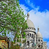 view of the Sacre-Coeur Basilica in Paris, France