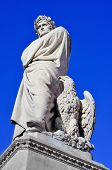 pic of alighieri  - nineteenth century sculpture of Dante Alighieri located in Piazza Santa Croce in Florence - JPG
