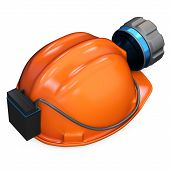 stock photo of collier  - 3d miner helmet with lamp and battery on white background - JPG