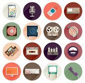 Vintage Gadgets Flat Icons Set. Retro PC, TV, Vinyl Player, Cassette and Tube Amplifier. Modern Tabl