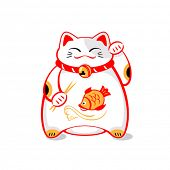 Japanese maneki-neko (lucky cat) with chopsticks and fish