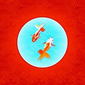 Pair of goldfishes over inverted Japanese flag in waves