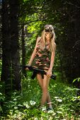 pic of ak-47  - Beautiful young woman holding an automatic assault rifle - JPG