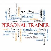 stock photo of rep  - Personal Trainer Word Cloud Concept with great terms such as fitness exercise aerobic and more - JPG