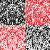Set Of Lace Seamless Patterns With Flowers - Fabric Design