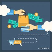 Flat Design Illustration Concept Of E-commerce