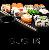 Sushi set isolaterd  on black background