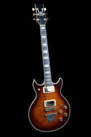 pic of ibanez  - Old Ibanez rock guitar isolated on black  - JPG