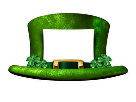 pic of st patty  - Shamrock hat blank sign belonging to a Leprechaun as a white banner with a green lucky top as a classic St Patricks day symbol and luck icon of Irish tradition celebration with magical four leaf clover decorations - JPG