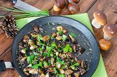 stock photo of chinese parsley  - Roasted mushrooms with cumin and fresh herbs  - JPG