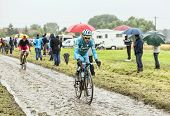 The Cyclist Michele Scarponi On A Cobbled Road - Tour De France 2014