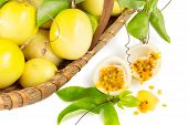 picture of passion fruit  - Yellow Passion fruit basket on white background - JPG