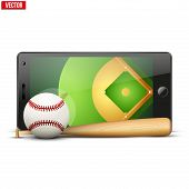 Mobile phone with baseball ball and field on the screen.