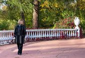 pic of old stone fence  - Beautiful Lady In A Black Coat Walking Along A Stone Fence With A White Vase