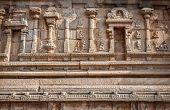 image of jain  - Ancient carved wall with hindu deities in Hazara Rama Jain Temple Hampi Karnataka India - JPG