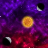 Nebula and the star with planets in the front