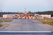 NIZHNY NOVGOROD. RUSSIA. JULY 31, 2014. STRIGINO AIRPORT. Passenger terminal, view from an airfield.