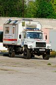 NIZHNY NOVGOROD. RUSSIA. JULY 31, 2014. STRIGINO AIRPORT.Car of the Ministry of Emergency Situations